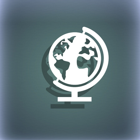geography background: Globe sign icon. World map geography symbol. Globes on stand for studying. On the blue-green abstract background with shadow and space for your text. illustration Stock Photo