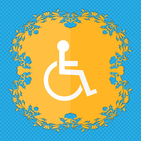 invalid: Disabled sign icon. Human on wheelchair symbol. Handicapped invalid sign. Floral flat design on a blue abstract background with place for your text. illustration Stock Photo
