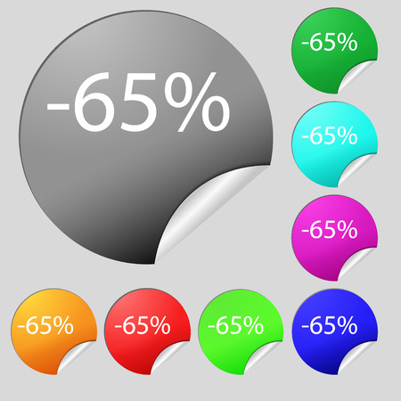 65: 65 percent discount sign icon. Sale symbol. Special offer label. Set of eight multi colored round buttons, stickers. illustration