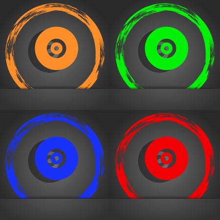 cdr: CD or DVD icon symbol. Fashionable modern style. In the orange, green, blue, green design. illustration