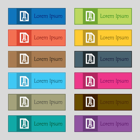 archive site: Archive file, Download compressed, ZIP zipped icon sign. Set of twelve rectangular, colorful, beautiful, high-quality buttons for the site. illustration