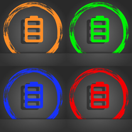 fully: Battery fully charged icon symbol. Fashionable modern style. In the orange, green, blue, green design. illustration