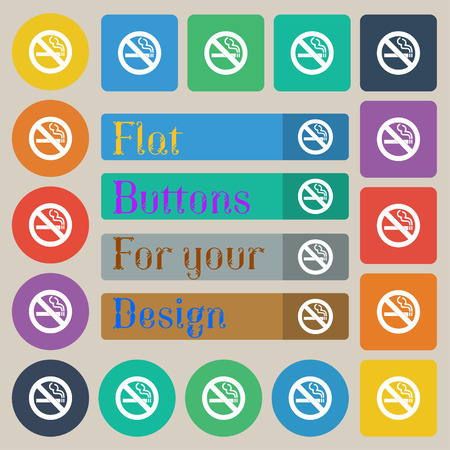 cigar shape: no smoking icon sign. Set of twenty colored flat, round, square and rectangular buttons. illustration Stock Photo