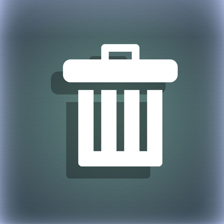 refuse bin: Recycle bin icon symbol on the blue-green abstract background with shadow and space for your text. illustration