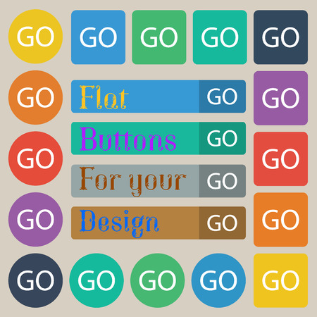go sign: GO sign icon. Set of twenty colored flat, round, square and rectangular buttons. illustration Stock Photo