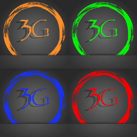 3g: 3G sign icon. Mobile telecommunications technology symbol. Fashionable modern style. In the orange, green, blue, red design. illustration