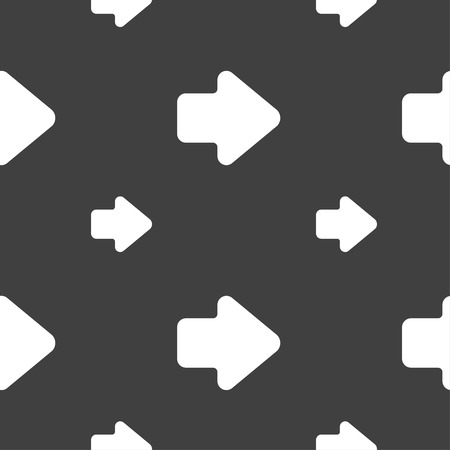 next icon: Arrow right, Next icon sign. Seamless pattern on a gray background. illustration