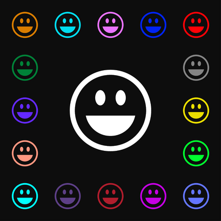 smile happy: funny Face icon sign. Lots of colorful symbols for your design. illustration