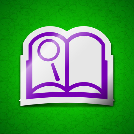 reading app: Open book icon sign. Symbol chic colored sticky label on green background. illustration