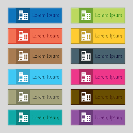 highrise: high-rise commercial buildings and residential apartments icon sign. Set of twelve rectangular, colorful, beautiful, high-quality buttons for the site. illustration