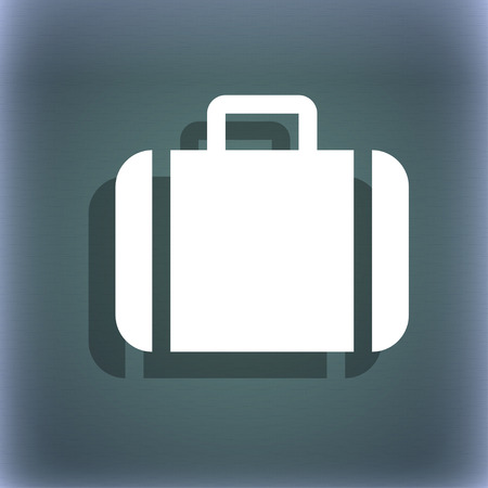 suit case: Suitcase icon symbol on the blue-green abstract background with shadow and space for your text. illustration