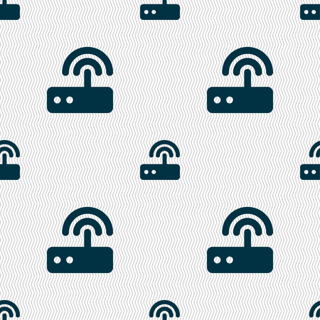 adsl: Wi fi router icon sign. Seamless pattern with geometric texture. illustration Stock Photo