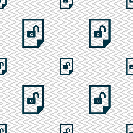 lockout: File unlocked icon sign. Seamless abstract background with geometric shapes. illustration