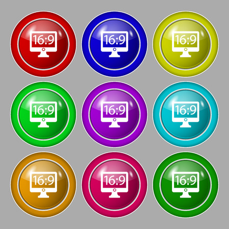 aspect: Aspect ratio 16:9 widescreen tv icon sign. Symbol on nine round colourful buttons. illustration Stock Photo