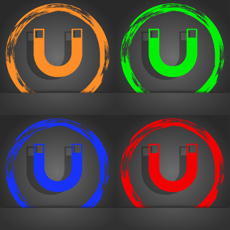 sig: magnet sign icon. horseshoe it symbol. Repair sig. Fashionable modern style. In the orange, green, blue, red design. illustration Stock Photo