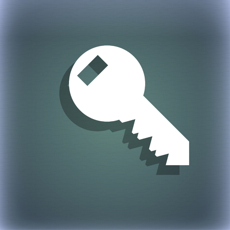 tool unlock: Key sign icon. Unlock tool symbol.. On the blue-green abstract background with shadow and space for your text. illustration