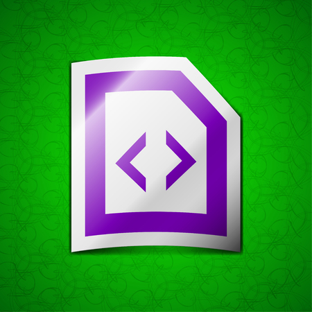 js: Script icon sign. Symbol chic colored sticky label on green background. illustration Stock Photo