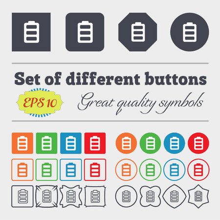 fully: Battery fully charged icon sign. Big set of colorful, diverse, high-quality buttons. illustration