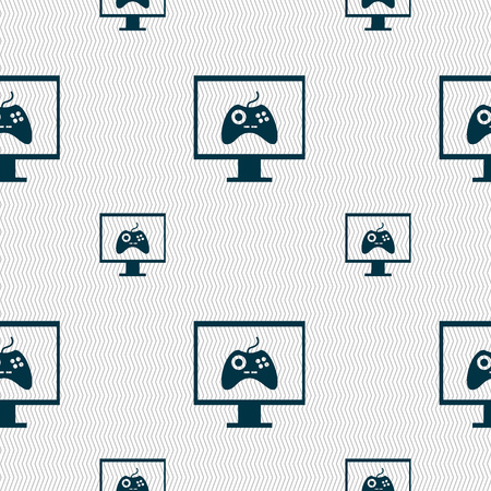 quality controller: Joystick and monitor sign icon. Video game symbol. Seamless pattern with geometric texture. illustration Stock Photo