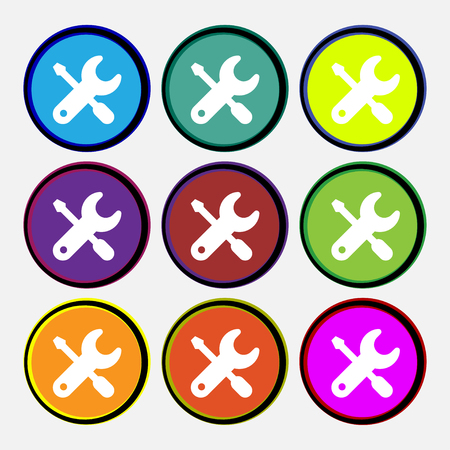 log out: screwdriver, key, settings icon sign. Nine multi colored round buttons. illustration