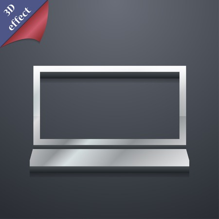ultrabook: Laptop icon symbol. 3D style. Trendy, modern design with space for your text illustration. Rastrized copy