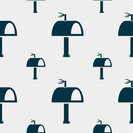 media distribution: Mailbox icon sign. Seamless pattern with geometric texture. illustration