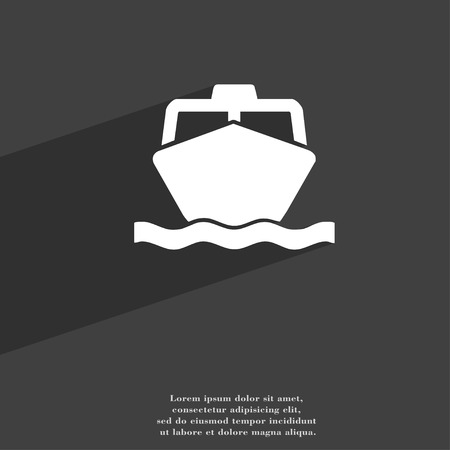 sea tanker ship: the boat icon symbol Flat modern web design with long shadow and space for your text. illustration