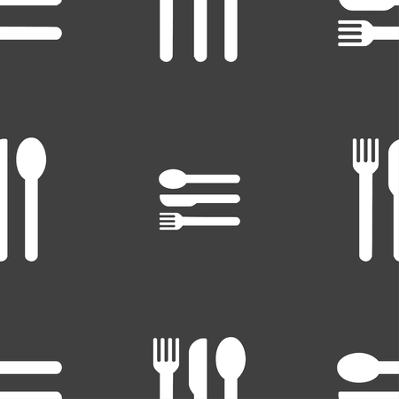 silver ware: fork, knife, spoon icon sign. Seamless pattern on a gray background. illustration