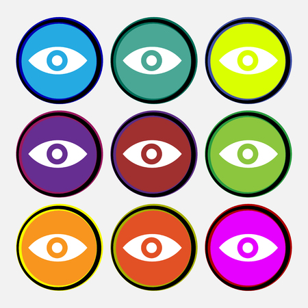 intuition: Eye, Publish content, sixth sense, intuition icon sign. Nine multi-colored round buttons. illustration Stock Photo