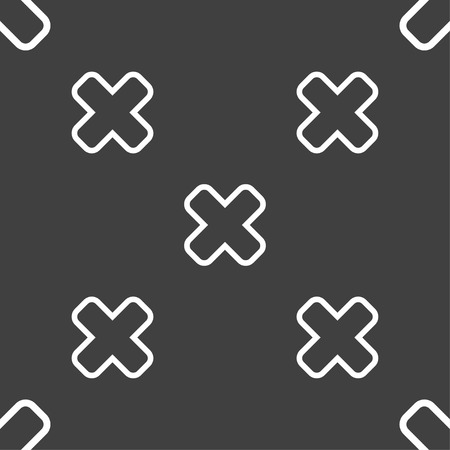 dismiss: Cancel icon sign. Seamless pattern on a gray background. illustration Stock Photo