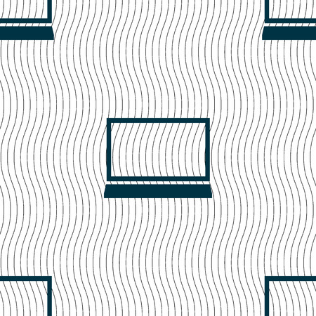 Laptop sign icon. Notebook pc symbol. Seamless pattern with geometric texture. illustration
