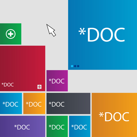 file extension: File document icon. Download doc button. Doc file extension symbol. Set of colored buttons. illustration