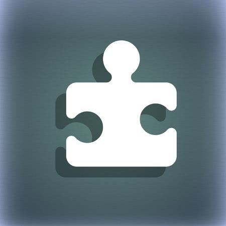 piezas de rompecabezas: Pedazo del rompecabezas del icono del símbolo en el fondo abstracto azul-verde con la sombra y el espacio para el texto. ilustración