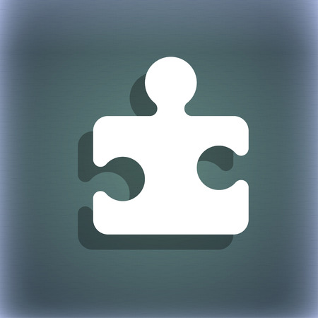 puzzle pieces: Puzzle piece icon symbol on the blue-green abstract background with shadow and space for your text. illustration Stock Photo
