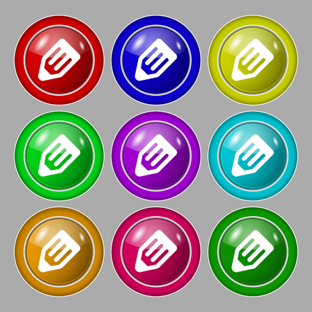 secretarial: pencil icon sign. symbol on nine round colourful buttons. illustration Stock Photo