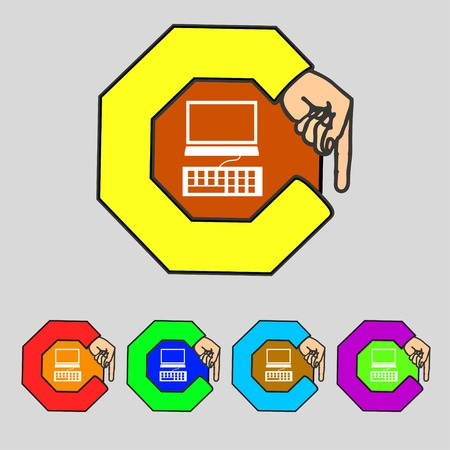 qwerty: Computer monitor and keyboard Icon. Set colourful buttons. illustration