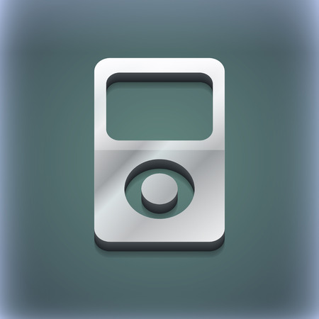 portable player: Portable musical player icon symbol. 3D style. Trendy, modern design with space for your text illustration. Raster version
