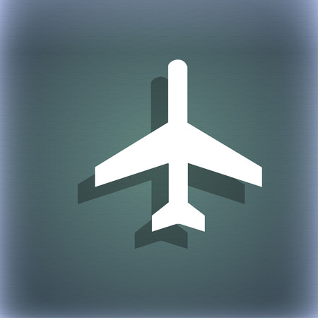 flight steward: airplane icon symbol on the blue-green abstract background with shadow and space for your text. illustration Stock Photo