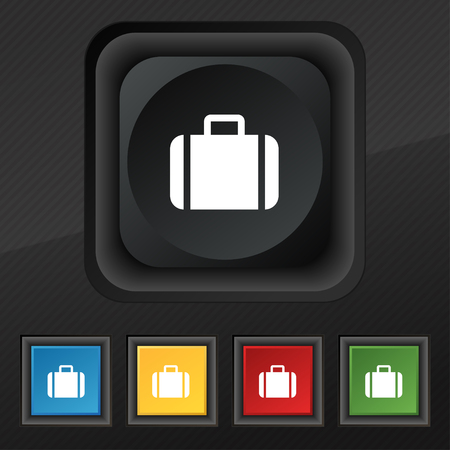 suit case: Suitcase icon symbol. Set of five colorful, stylish buttons on black texture for your design. illustration Stock Photo