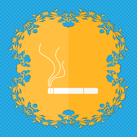 smoking place: Smoking sign icon. Cigarette symbol. Floral flat design on a blue abstract background with place for your text. illustration Stock Photo