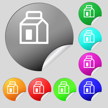 package icon: Milk, Juice, Beverages, Carton Package icon sign. Set of eight multi-colored round buttons, stickers. illustration