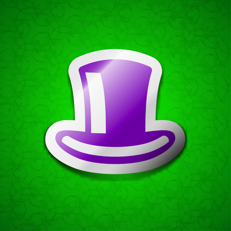 green tophat: cylinder hat icon sign. Symbol chic colored sticky label on green background. illustration