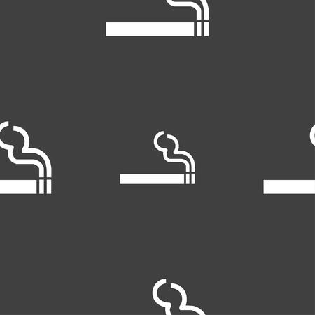 pernicious: cigarette smoke icon sign. Seamless pattern on a gray background. illustration Stock Photo