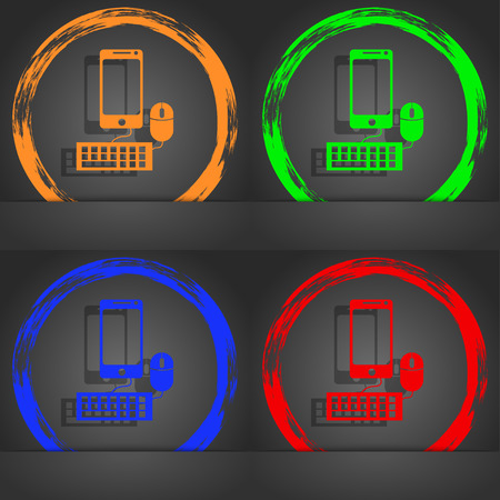 blue widescreen widescreen: smartphone widescreen monitor, keyboard, mouse sign icon. Fashionable modern style. In the orange, green, blue, red design. illustration