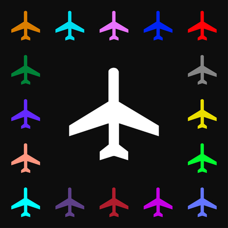 fender: airplane icon sign. Lots of colorful symbols for your design. illustration
