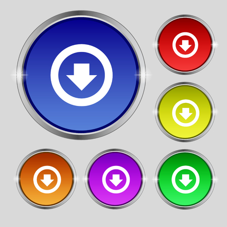 down load: Arrow down, Download, Load, Backup icon sign. Round symbol on bright colourful buttons. illustration