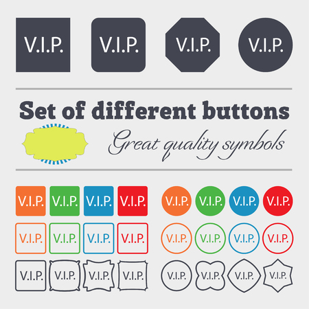 very important person sign: Vip sign icon. Membership symbol. Very important person. Big set of colorful, diverse, high-quality buttons. illustration