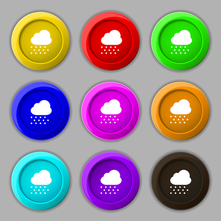 snowing: snowing icon sign. symbol on nine round colourful buttons. illustration