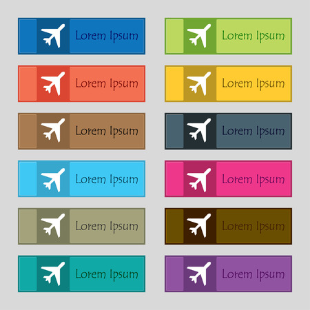 fender: airplane icon sign. Set of twelve rectangular, colorful, beautiful, high-quality buttons for the site. illustration