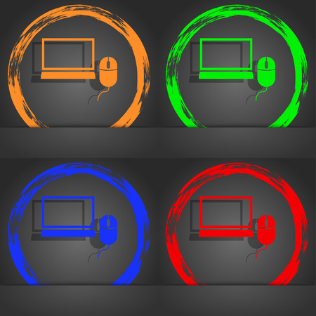 ico: Computer widescreen monitor, mouse sign ico. Fashionable modern style. In the orange, green, blue, red design. illustration Stock Photo